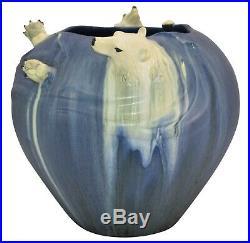 Ephraim Faience Pottery 2003 Polar Bear Show Vase 350