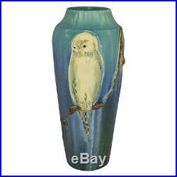 Ephraim Faience Pottery 2003 Snowy White Owl Ceramic Vase 300