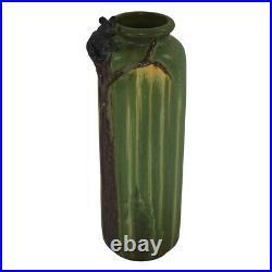 Ephraim Faience Pottery 2004 Matte Green Climbing Black Bear Vase 406