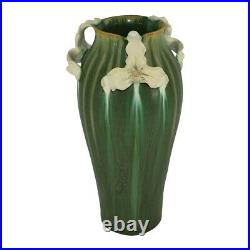 Ephraim Faience Pottery 2004 Matte Green White Trillium Vase 418