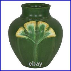 Ephraim Faience Pottery 2004 Nostalgia Matte Green Gingko Leaf Vase Shape 243