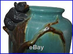 Ephraim Faience Pottery 2005 Blue Glaze Variation Climbing Black Bear Vase 406