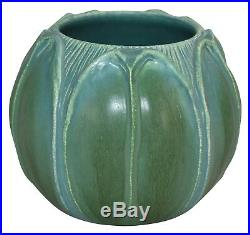 Ephraim Faience Pottery 2006 Arts and Crafts Matte Green and Blue Leaf Vase