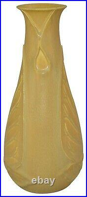 Ephraim Faience Pottery 2006 Experimental Matte Yellow Leaf Vase