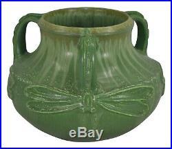 Ephraim Faience Pottery 2007 Century Studios Matte Green Dragonfly Vase