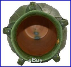 Ephraim Faience Pottery 2007 Experimental Matte Green Fern Ceramic Vase