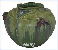 Ephraim Faience Pottery 2007 Shade Shoreline Dragonfly Vase A09