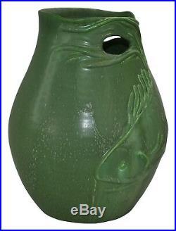 Ephraim Faience Pottery 2008 Koi Matte Green Vase 108