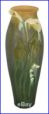 Ephraim Faience Pottery 2009 Large Calla Lily Red Wing Show Floor Vase C70