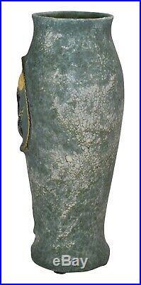 Ephraim Faience Pottery 2010 Experimental Bird And Moon Snowy Glaze Vase