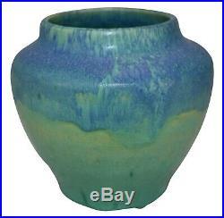 Ephraim Faience Pottery Experimental Aqua Two Tone Test Glaze Vase Draves