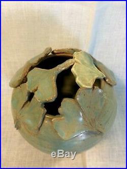 Ephraim Faience Pottery Style Pot Vase Ginkgo Leaves Signed Marked 6 1/2 x 5
