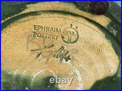 Ephraim Pottery Large 10 Green Bat Vase Signed by Kevin Hicks