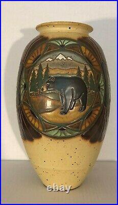 Eric Olsen Common Ground Pottery Large Black Bear Vase 2008 MINT