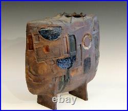 Extraordinary Studio Pottery Geometric Carved Vessel Vase Signed Large Sculpture