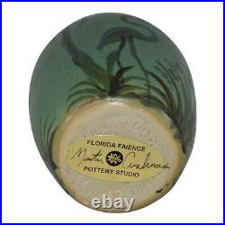 Florida Faience Studio Pottery 2009 Green Flamingos And Palm Trees Scenic Vase