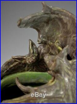 Freiwald Art Pottery Bats vase arts and crafts art nouveau amphora jugendstil