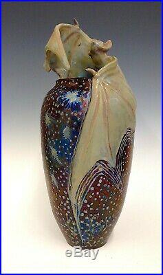 Freiwald Art Pottery Studio Bat Amphora art nouveau luster massier vase 12.5 in