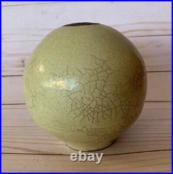 Geometric Art Deco Raku Vase Pot Studio Art Pottery Checkered Seed Pot Signed