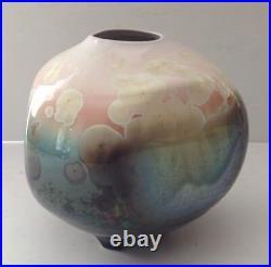Gorgeous Crystalline Glaze Studio Art Pottery Large Footed Vase-Signed