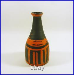 Gorka Livia, Black & Orange Striped Retro Vase 7.8, 1950's Art Pottery! (g358)