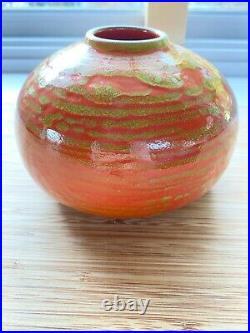 Heath Ceramics Bulb Vase 131, RARE Seasonal Mars Orange/Green Glaze! 3.5 x 5