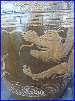 Huge 33 Asian Chinese Egg Storage Dragon Pot Vase Planter Urn Pottery