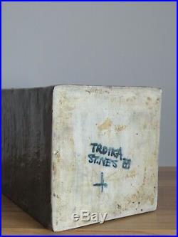Huge Early Troika Studio Pottery Column Vase Leslie Illsley Perfect Trident Mark
