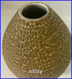 Hyalyn 6 Vase Pebble Finish Squat Capri Shape Tan Green Signed P-14 Mid Century