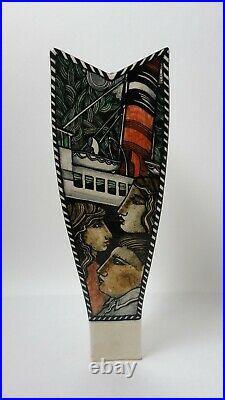 Ian McWhinnie (Scottish b. 1952) ceramic studio pottery painted vase Glasgow
