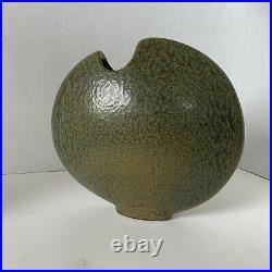 Ikebana VASE Round Vessel Form Japanese Art Pottery Hand Made Signed 10