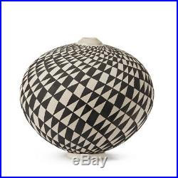 Ilona Sulikova Raku Fired Black & White Studio Vase 20th C