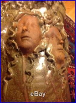 Impressive Unusual Signed Art Pottery Vase Large Heads Medusa Lion Old Man 16