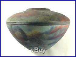 Iridescent fired raku vase signed John McCain ceramic pottery studio art modern
