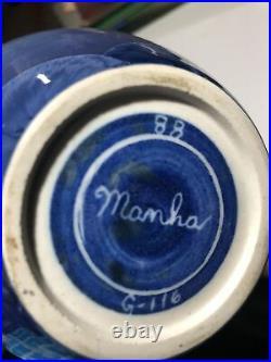 JOHN MANKAMEYER Manka Blue Crystalline Glaze Studio Pottery Vase 1988