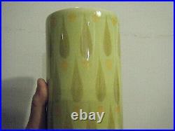 J. FF John Ffrench Tall Green MCM Modern Vintage 1960 Vase Arklow Pottery Ireland