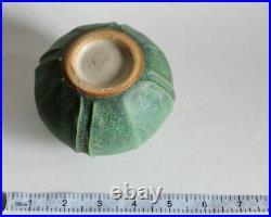 Jemerick Pottery 1999 SJ Mottled Matte Green w Bud VASE Grueby-esque Arts Crafts