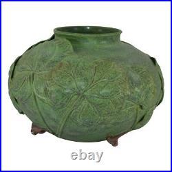Jemerick Pottery Large Grueby Green Applied Leaves Flower Buds Bulbous Vase