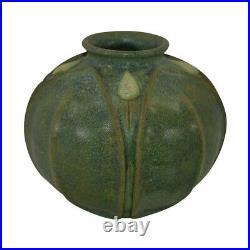 Jemerick Pottery Matte Green Broad Leaf Yellow Bud Bulbous Vase