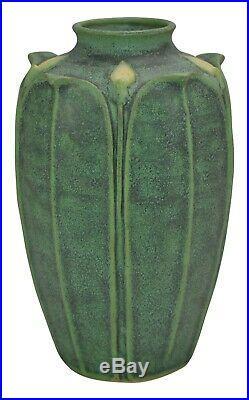 Jemerick Pottery Matte Green Yellow Bud Arts and Crafts Vase