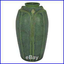 Jemerick Pottery Matte Green Yellow Bud Folded Leaves Arts and Crafts Vase