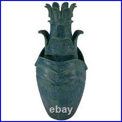 Jemerick Pottery Mottled Blue Green Three Tiered Folded Leaf Floor Vase