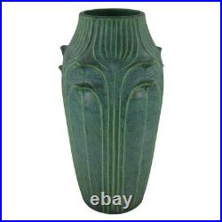 Jemerick Pottery Mottled Green Flowers And Leaves Tall Arts And Crafts Vase
