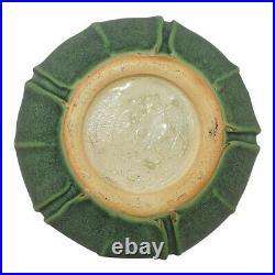 Jemerick Pottery Mottled Matte Green Folded Leaf Arts and Crafts Vase