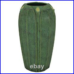 Jemerick Pottery Yellow Bud Mottled Green Arts And Crafts Vase
