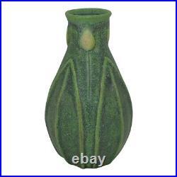 Jemerick Pottery Yellow Bud Mottled Matte Green Bud Vase