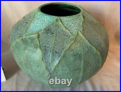 Jemerick Vase Studio Art Pottery Blue Green Leaves Multicolor Nice