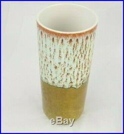 John Ffrench Cylinder Vase Ireland Studio Drip Glaze 7 1/2 Inches Tall