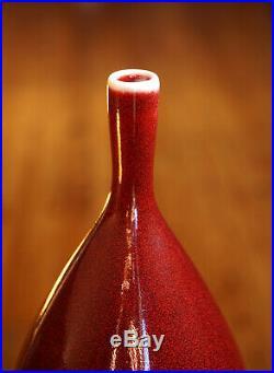 Justin Teilhet Studio Pottery Vase Vessel Copper Red Glaze Wheel Thrown JT