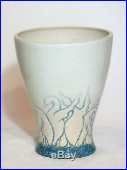 Klytie Pate Wild Geese Vase. Australian Studio Pottery